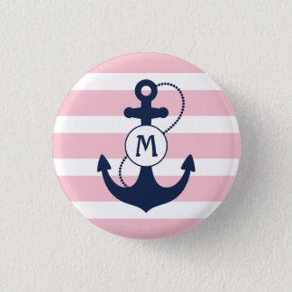 Badge Rayures nautiques roses avec le monogramme d'ancre