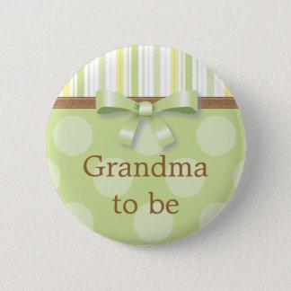 "Badge Rayures vertes de point de polka - ""grand-maman à"