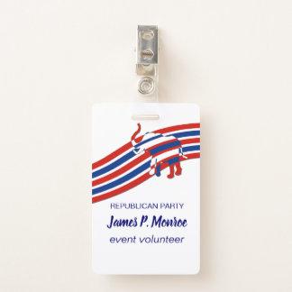 Badge RÉPUBLICAIN politique blanc rouge de rayures