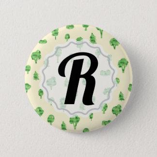 Badge Ressort vert de conception d'arbre d'aquarelle de