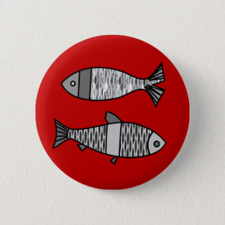 Badge Rétros poissons modernes, rouge-foncé et gris/gris