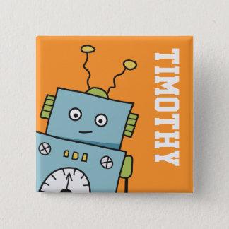 Badge Robot bleu mignon avec le nom personnalisé