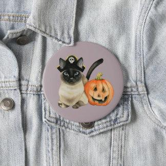 Badge Rond 10 Cm Chat siamois de Halloween avec la lanterne de Jack
