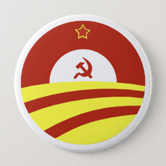 Badge Rond 10 Cm Hussein Obama indique : Écartez la richesse