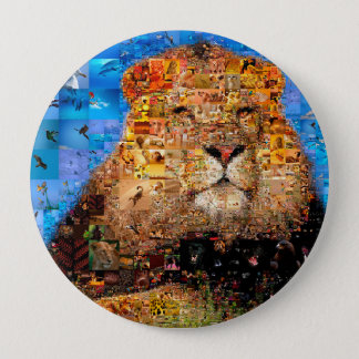 Badge Rond 10 Cm lion - collage de lion - mosaïque de lion - lion