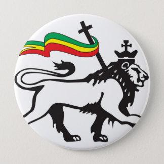 Badge Rond 10 Cm Lion de la tribu du bouton de Judah (blanc)