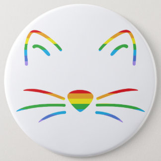 Badge Rond 15,2 Cm Bouton de favoris de chat d'arc-en-ciel