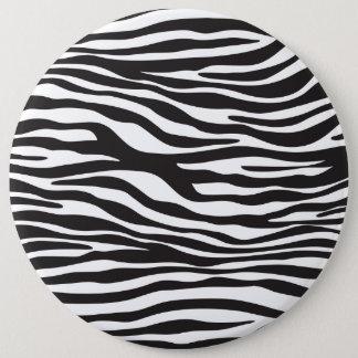 Badge Rond 15,2 Cm Poster de animal, rayures de zèbre - blanc noir