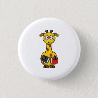 Badge Rond 2,50 Cm Art de girafe de rat de bibliothèque