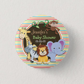 Badge Rond 2,50 Cm Baby shower d'animaux de zoo, rayures lumineuses