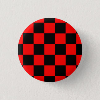Badge Rond 2,50 Cm Bouton carreau noir/rouge