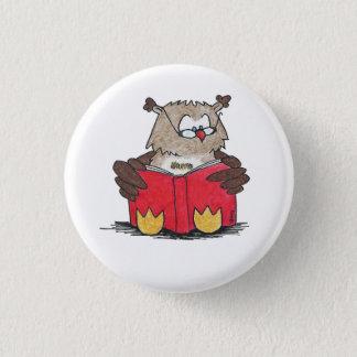 Badge Rond 2,50 Cm Bouton de HIBOU de LECTURE par Nicole Janes
