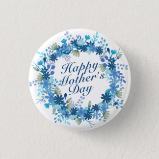 Badge Rond 2,50 Cm Bouton floral de guirlande de mère d'hiver heureux