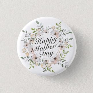 Badge Rond 2,50 Cm Bouton floral heureux élégant de cadre du jour de