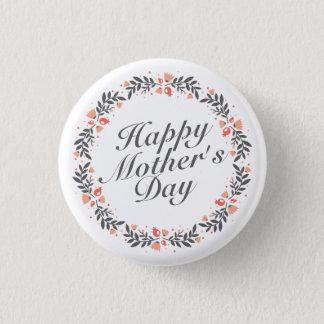 Badge Rond 2,50 Cm Bouton floral heureux élégant de Pin du jour de