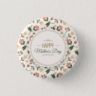 Badge Rond 2,50 Cm Bouton heureux floral élégant de Pin du jour de