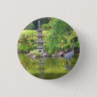 Badge Rond 2,50 Cm Bouton japonais de l'étang #5 de jardin de thé de