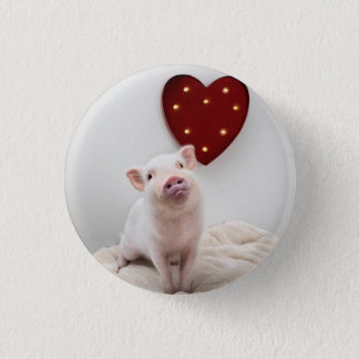 Badge Rond 2,50 Cm Bouton porcin de coeur