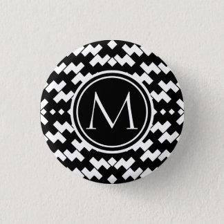 Badge Rond 2,50 Cm Chevron frais noir et blanc