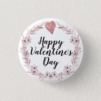Badge Rond 2,50 Cm Coeur d'aquarelle et Saint-Valentin roses de fleur