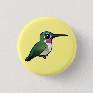 Badge Rond 2,50 Cm colibri Large-coupé la queue