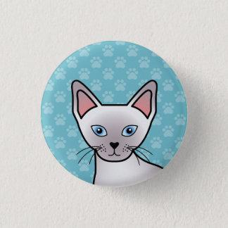 Badge Rond 2,50 Cm Dessin siamois de bande dessinée de chat de race