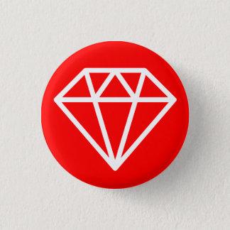 Badge Rond 2,50 Cm Diamant simple - blanc sur le rouge