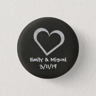Badge Rond 2,50 Cm Faveur d'insigne de bouton de mariage de coeur de