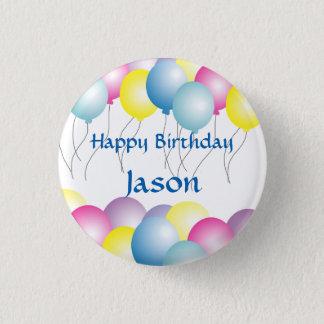 Badge Rond 2,50 Cm Fête d'anniversaire multicolore de ballons
