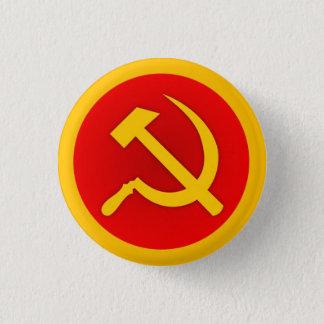 Badge Rond 2,50 Cm Frontière de Pin w/Gold de marteau et de faucille