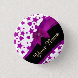 Badge Rond 2,50 Cm Girly magenta assez personnalisé modelé