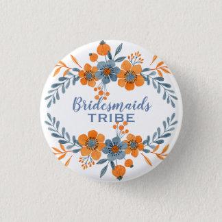 Badge Rond 2,50 Cm Guirlande orange et bleue de tribu de demoiselles