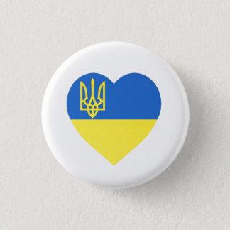 Badge Rond 2,50 Cm Insigne de coeur de Tryzub d'Ukrainien petit
