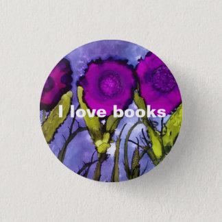 Badge Rond 2,50 Cm J'aime des livres - bouton pourpre