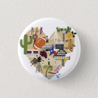 Badge Rond 2,50 Cm J'aime le bouton du Texas