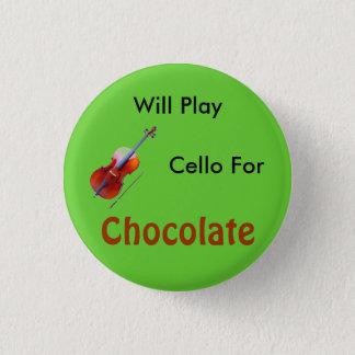 Badge Rond 2,50 Cm Jouera le violoncelle pour le chocolat