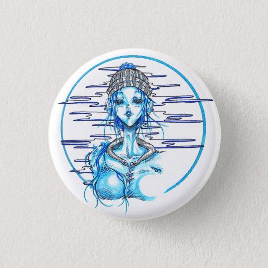Badge Rond 2,50 Cm Manga girl snow blue