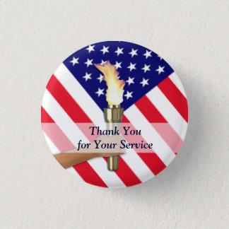 Badge Rond 2,50 Cm Merci de militaires de vétéran et de service actif