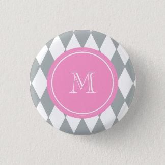 Badge Rond 2,50 Cm Motif de harlequin de blanc gris, monogramme rose