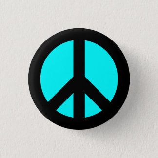 Badge Rond 2,50 Cm Noir et bouton de symbole de paix d'Aqua