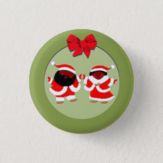 Badge Rond 2,50 Cm Père Noël et Mme Claus