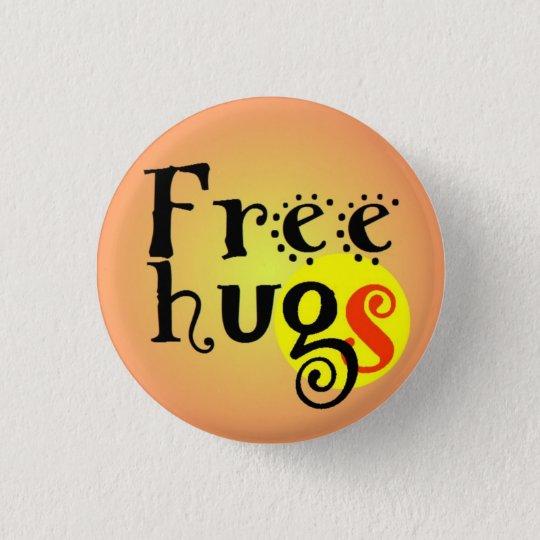 Badge Rond 2,50 Cm pins button Free hugs GS enterlaced 3,2 cm