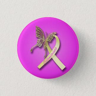 Badge Rond 2,50 Cm Ruban d'endométriose avec le papillon d'or