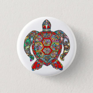 Badge Rond 2,50 Cm Schéma ornemental floral décoratif tortue de mer