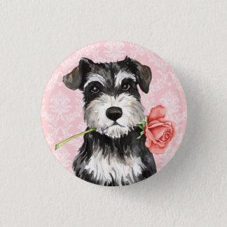 Badge Rond 2,50 Cm Schnauzer de rose de Valentine mini