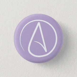 Badge Rond 2,50 Cm Symbole athée : blanc sur la lavande