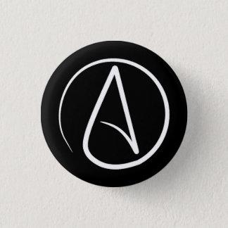 Badge Rond 2,50 Cm Symbole athée : blanc sur le noir