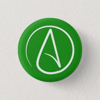Badge Rond 2,50 Cm Symbole athée : blanc sur le vert