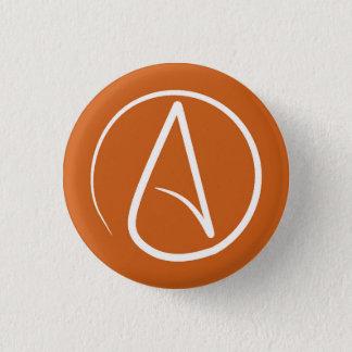 Badge Rond 2,50 Cm Symbole athée : blanc sur l'orange brûlée