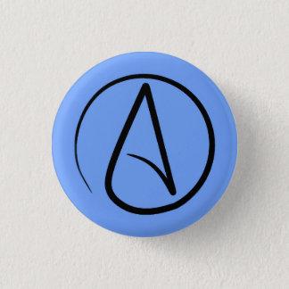 Badge Rond 2,50 Cm Symbole athée : noir sur bleu-clair
